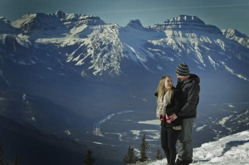 Beautiful engagement shoot up sulphur mountain. We shoot not only in the resorts, but on location too! Anywhere you can imagine, we are there! Photo packages to best suite your outdoor/traveling photography needs start at only $375. (1 hour of a photographers time, ALL your high resolution images on a convenient DVD, and an hour of post production work to make your photos look their absolute best!) Inquire instore at any one of our locationsBanff Springs Hotel, Chateau Lake Louise and at 101 Banff Ave. or look us up online at: http://www.banffphotography.com
