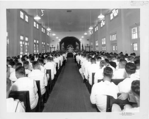 "40 days til the 1940 Census no. 32 ""Worship Service at NTC Chapel"" taken from a series of historical photo files from the Naval Training Center at San Diego, California (RG 181).  This photograph was taken in 1942, as World War II was ramping up. From the holdings of the National Archives at Riverside."