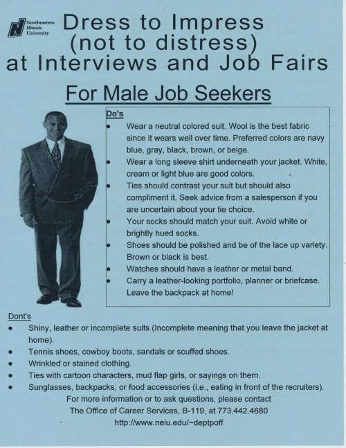 Public Collectors: now helping you find a job. A flyer with dress tips for men (leave the mud flap girls tie at home).