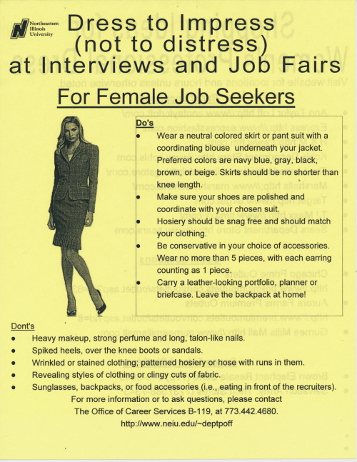 Public Collectors: now helping you find a  job. A flyer with dress tips for women (trim those long, talon-like nails).