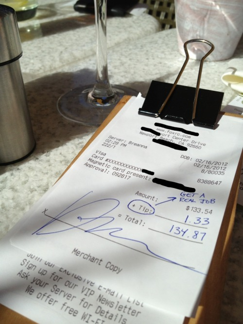 "annieelainey:  thedailywhat:  Terrible Tipper of the Day: Twitter @FutureExBanker says (by way of Eater): ""my jerk boss tips exactly 1%"" because he loathes the 99%."" He also apparently felt the need to tell True Food Kitchen server Breanna to ""get a real job.""  I think it's high time someone occupied his ass with their foot. [eater.]  I just want to vomit forever. I don't know what I would do!! Hold in my tears as I serve the next table!! I can't!  This came out as being a fake, read up: http://articles.businessinsider.com/2012-02-28/news/31106625_1_tip-twitter-account-true-food-kitchen"