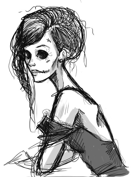 Skeleton lady quick sketch.