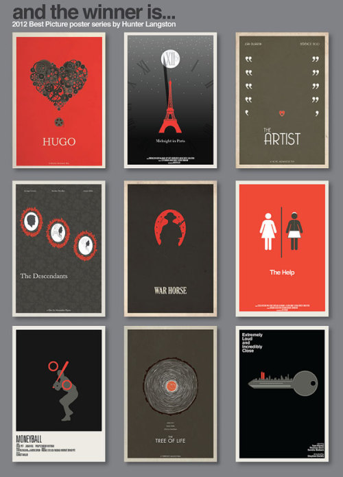 Amazing Poster Designs The 2012 Best Picture nominees by Hunter Langston. Check out and buy his artworks on Etsy. Featured artwork in the WE AND THE COLOR Flickr Group. Join the group and submit your work here. via: MAG.WE AND THE COLORFacebook // Twitter // Google+ // Pinterest