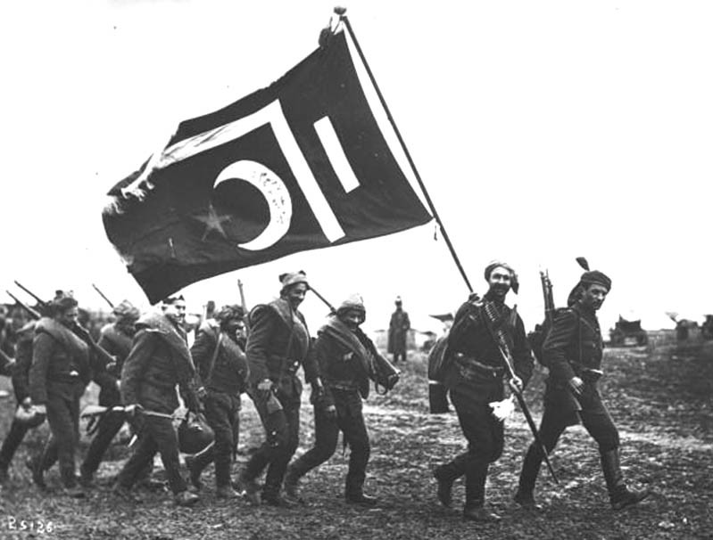 Ottoman-Turkish Nationalists with Pan-Turanist Flag, 1908-1915.