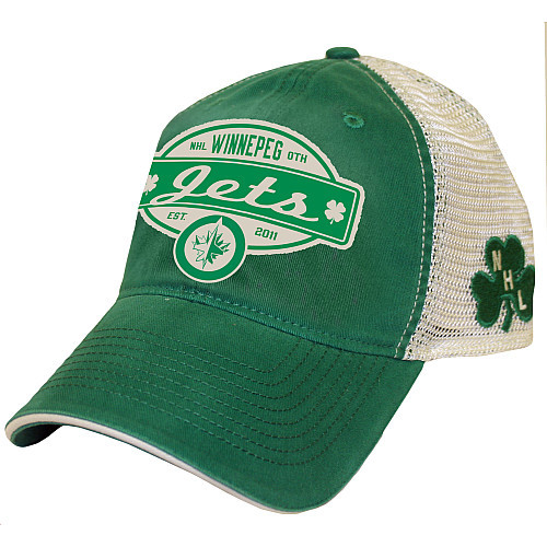 At nhl.com you can buy this St. Patrick's Day-themed Winnepeg Jets hat! Yes, I said Winnepeg… the correct spelling is, of course, Winnipeg.