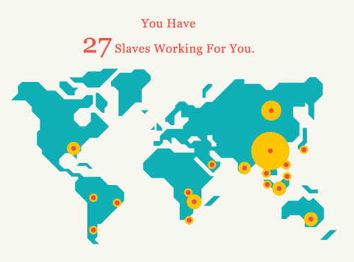 Slavery Footprint. This totally freaks me out. Click the link to find out yours.