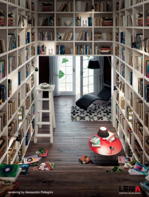 homedesigning:   Reading Corners   This is my library. In my dreams.