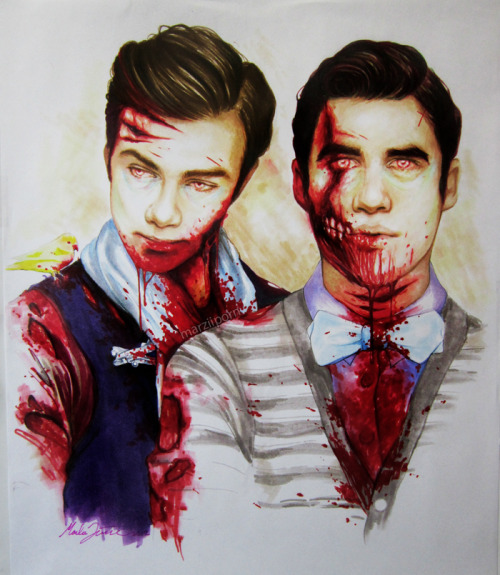 "marziiporn:  zombie!Klaine for my bestest buddy, happy birthday Tori! (err…a day early :P) prismacolor markers, layout bond 14""x17"" 