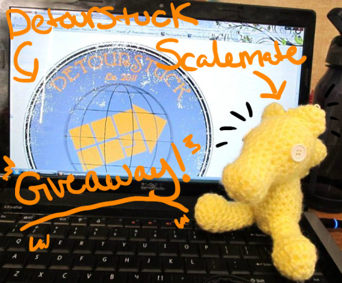 "cynicalpie:  DETOURSTUCK SCALEMATE GIVEAWAY! ***Please read the entire post first!*** Hellooooooooooooooo internet! More specifically, HELLOOOOOOO DETOURSTUCK! As you all know, Anime Detour is fast approaching and we're all starting the mad rush to get costumes done and such! Well, due to monetary constraints, I won't be bringing any new cosplays to Detour. So I find myself with some spare time around my classes. I know we're all excited to meet each other and I thought that a way to make this second meeting of Detourstuck super special was to give out scalemates! Due to the sheer freaking size of our group, I cannot logistically make 80+ scalemates and still go to class, eat, sleep, etc and have important things like money. But I can do a giveaway! Okay! Let's see what you'll be getting!  This is the scalemate type I am offering. (The yellow one.) They stand at 5""-5 1/2"" tall, are made out of Red Heart yarn, and stuffed with polyfiber fill. The eyes are plastic buttons. So. What does that mean for all of you Detourstuckers? I've decided to do this giveaway thing in the form of a scalemate sign-up! All you have to do is:  Reblog this post or send a message to me via askbox or fanmail. How I'm going to do signups is go first by the order I receive notes on  this post. This means if you want to be one of the first people to sign  up, reblog. Then I'm going to go to signups in my messages. If I  get enough people interested, the list of sign-ups will be then be divided into groups of five. I will be doing scalemates one group at a  time. So if I make it to your group, you are guaranteed a scalemate. I cannot guarantee that everyone who signs up will receive a scalemate. I really wish I could, but it would just be nearly impossible if a bunch of people sign up. I'll start making scalemates as soon as people start signing up, so hopefully everyone can get a little scalemate friend! I will be posting regularly which groups I have gotten done. Track the ""#detourstuck giveaway"" tag to see progress! When you reblog/message me you need to include: NAME or ALIAS or BADGE NAME AT DETOUR:What color of scalemate you would like: (See below)What color of eyes you would like your scalemate to have: (I have white and black eyes available. You may request that your scalemate remains eyeless and you can add them on later.) You have from now until Friday, March 9th at 11:59PM to sign up! *IMPORTANT NOTE* YOU MUST BE ATTENDING ANIME DETOUR TO DO THIS GIVEAWAY! I'm handing scalemates out at Detour and Detour only. I will not be mailing any of them out after the event. SCALEMATE COLORS: These are the colors you have to choose from! Just put the number of the color you want in your message/reblog.  I think that's everything! Look for posts closer to Detour for when/where I'll be available to hand these out at Detour! If you have any questions, please do not hesitate to ask! If you can, reblog so that all of the Detourstuckers on Tumblr can see! I'll also be putting a link to this post in the Facebook group tomorrow (Sunday 2/26), so that gives all of you Tumblr people a chance to sign up first. Nifty huh? Have a good day and I'll see you at Detour!  <3, Cyn  Name: RPJesus. Color: 3. Eyes: Black."