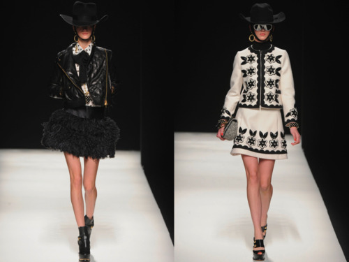 Moschino's Fall 2012 collection reminded us of a luxe version of the wild wild west with a hint of space cowboy. With the jumbo sized hats, simple gold hoop earrings and mirrored glasses, this collection has everything we ever wanted! #MFW