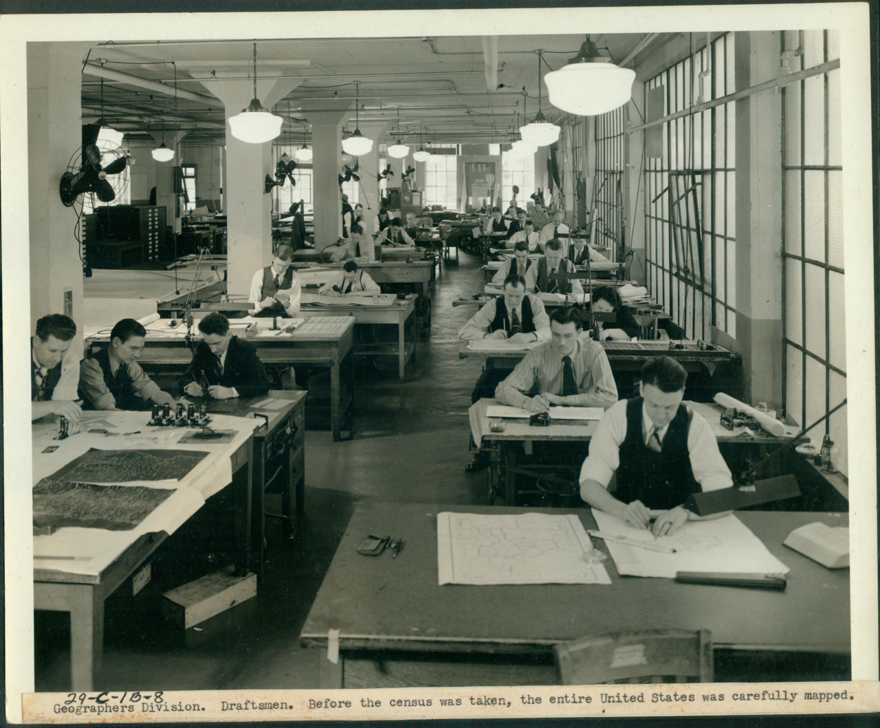 "usnatarchives:  Just 36 days left until the release of the 1940 Census! Caption for  image: ""Geographers Division, Draftsmen, Before the Census was Taken, the Entire United States was Carefully Mapped"" Will you be ready to dive in and start researching? This census will not have a name index when it opens on April 2, 2012. In  order to locate someone, you will need to know his or her address and the Census  enumeration district in which that address was located. You can start to prepare now: Make a list of all the people you want to look for in the 1940  census Collect addresses for these people for whom you plan to search.  Identify the enumeration district (ED) in which each address was located. More information about how to get ready and find the enumeration district is on our website. Or, attend a 1940 lecture near you!"