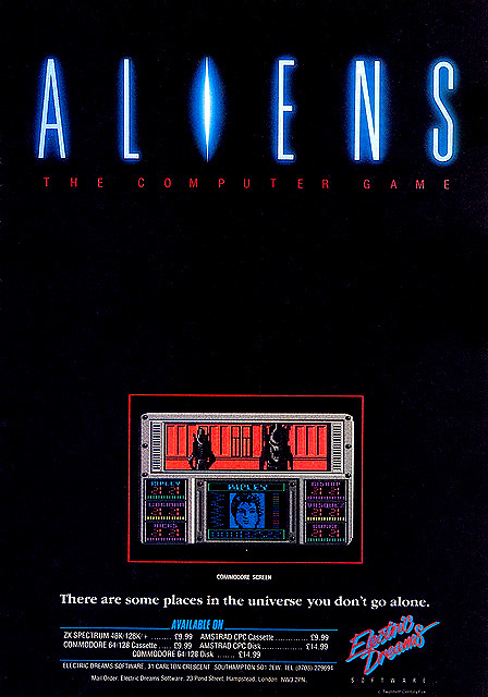 available on cassette; disc… Aliens:The Computer Game for the Commodore 64 and ZX Spectrum advertisement circa 1984 :: via junkyard.dogs