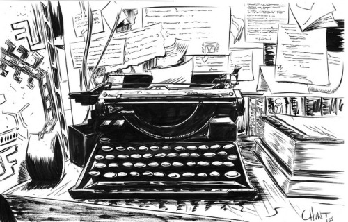 """There is nothing to writing. All you do is sit down at a typewriter and bleed."" - Ernest Hemingway illustration by Christopher Hunt :: via flickr.com"
