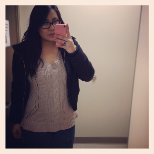 My 9$ sweater from old navy! I saw the same sweater at forever 21 for 20 something $$. Luckily I didn't buy it when I first saw it, plus the material is soo much better. :]