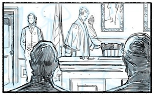 -Silence in court!! A pencil panel from a page in process.  Digital.