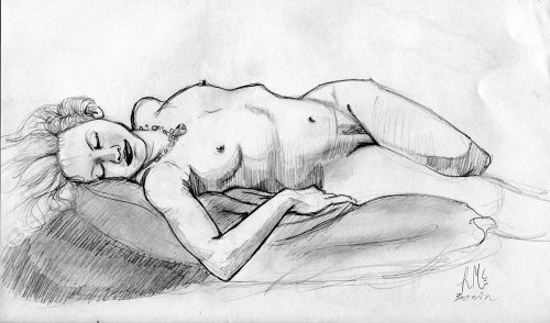 Figure Drawing In Austin, TX in my tiny tiny sketchbook.