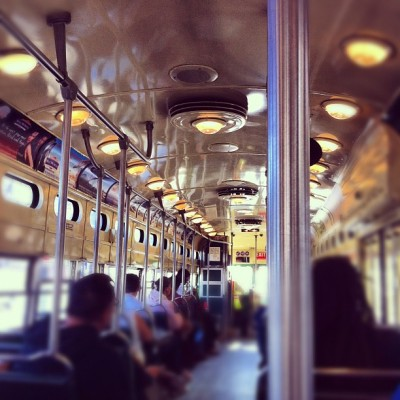 Inside of F Train - San Francisco (Taken with instagram)