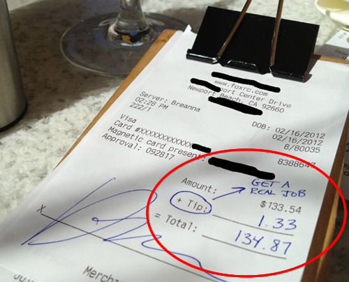 Rich Jerk Tips 1% and Advises Server to 'Get a Real Job' via - Eater