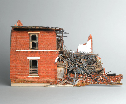 Broken Houses The series broken houses by Ofra Lapid is based on photographs of destroyed and neglected houses. However, these buildings were recreated as small, precise scale models and again photographed in the studio: a mock-ups of destruction.  (source)More pictures at the artist's site.