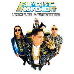 "New Single artwork we did for Far East Movement's ""Live My Life"" featuring Justin Bieber and RedFoo."