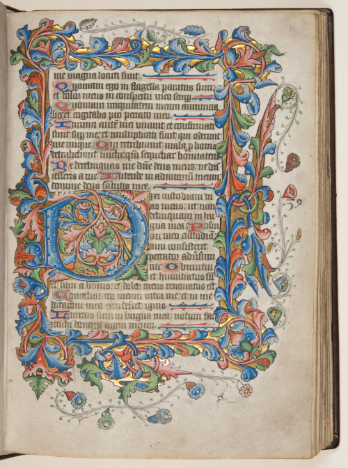 jothelibrarian:  Pretty medieval manuscript of the day is a fifteenth century psalter from the special collections department of the University of St Andrews, in Scotland. It's a real pleasure to feature a book from my alma mater, although I don't recall ever seeing any illuminated manuscripts when I volunteered there. Charters a plenty, and some fab printed books, but nothing like this. I think it's a gorgeous photo, and the high resolution means it's easy to have a good look at the text. Image source: University of St Andrews MS BX2033.A00, from the University's Echoes from the vault blog, and Creative Commons licensed.