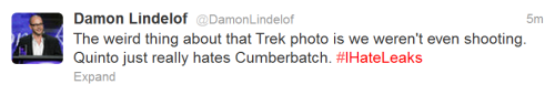 All this tells me is the intersection of Star Trek fandom and Sherlock fandom will result in the exploding of the cosmos. And that Lindelof should just let Fanboy Orci do all the talking.