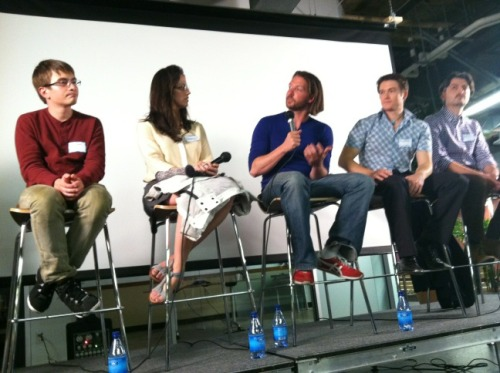 The panel at the Collaborative Chats launch event on Wednesday night at the Hub engaged in a fascinating talk on the role of community in collaborative consumption. I had a great time moderating the discussion!  For Shareable's recap of the conversation, click here. Also check out these cool data visualizations showing the evolution of social ties within the CouchSurfing community by panelist Bogdan State. (Left to right: Stanford sociology doctoral student Bogdan State, Airbnb's Elizabeth Mueller, RelayRides founder Shelby Clark, CouchSurfing founder Casey Fenton, and Stanford sociology professor Paolo Parigi.)