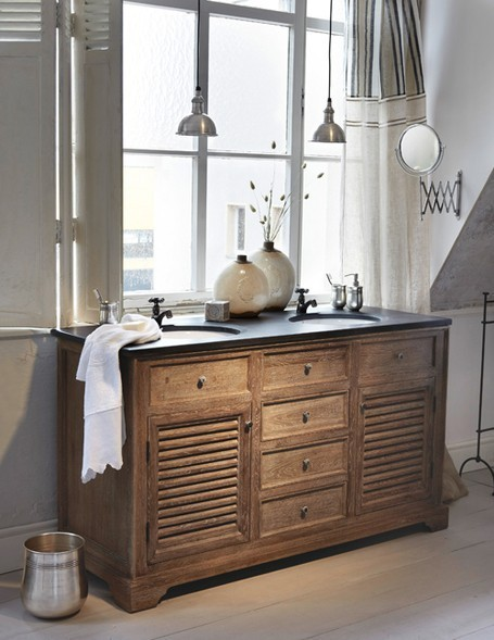 Looks like they used reclaimed lumber to make this vanity. Follow CollegeGuyDesign if you like things like this showing up on your dash!