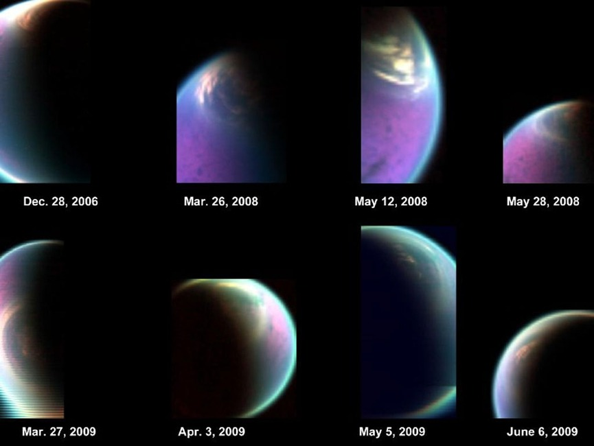 the-star-stuff:  The many moods of Titan  Cassini images give scientists concrete evidence that Titan's atmosphere changes with the seasons. By NASA/JPL — Published: February 24, 2012 This series of false-color images obtained by NASA's Cassini spacecraft shows the dissolving cloud cover over the north pole of Saturn's moon Titan. Credit: NASA/JPL-Caltech/Univ. of Arizona/CNRS/LPGNantes