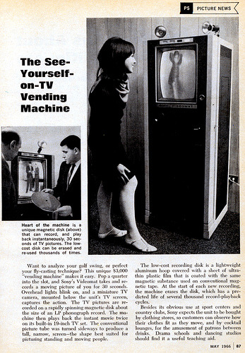 The See-Yourself-on-TV Vending Machine, from the fantastically named (and just followed) Voices Of East Anglia site. (They're really from East Anglia! They also have a proper blog, presumably for the wordy stuff and when they need to post lots of photos.)