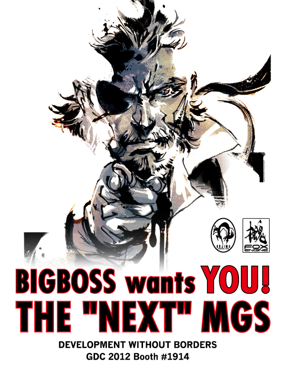 A Little Bit on the Uncle Sam Snake Side: Naked Snake (AKA Big Boss) wants you to develop the next Metal Gear Solid game. Kojima Productions will be at booth 1914 throughout GDC 2012 accepting applicants. Unfortunately, it doesn't look like they'll be printing physical versions of this propaganda poster.