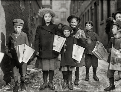 kateoplis:  Newsgirls coming through the alley. The smallest girl has been selling for 2 years. Hartford, Connecticut, 1909  It's a fine life, carrying the banner through it all! A mighty fine life, carrying the banner tough and tall! —- My brother has informed me that Alex Wong will be in Newsies on Broadway. YES. Also, I will be kicking myself for a while for not hearing about that audition until the day after it happened.