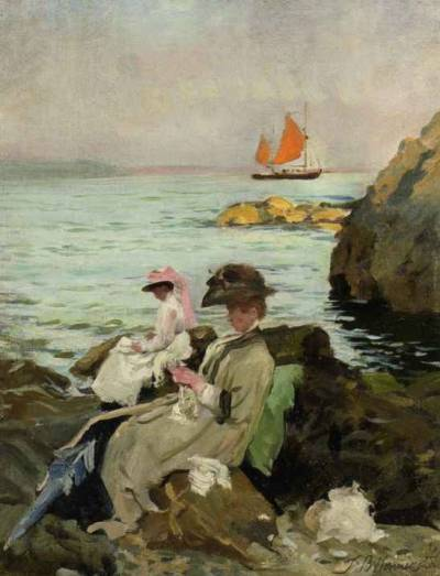 Thomas Benjamin Kennington - Amongst the Rocks (British, 1856-1916)  Babies' Beach