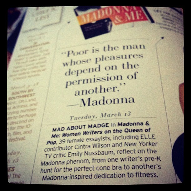 a little mention of my madonna & me essay in elle magazine. hooray for cone bras!