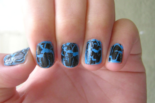 OPI shatter over blue.