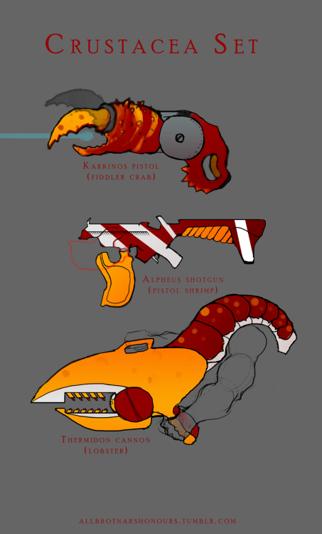 "Weapon set design: organic weapons Since so far I have only spoke of expanding into discussing firearms, as well, I decided to change the situation. The ""organic"" theme came about as I observed so many melee weapons designed after (or containing) organic elements: spikes and claws, which, for animals serve other functions than on weapons. However, they do make for compelling designs, and so the Crustacea set took form. A few notes on each of the weapons: Karkinos: This was the first design and less thought has been put into it than into the others (at first). The mobile claw serves as a storage device for the energy sphere. When it hinges upwards, the energy is released in the form of a beam. Additionally, the entire ""claw"" may be fired as a grappling hook, using the attached winch. Not only can the Karkinos be used as a climbing device in this way, but it may also be used to tear down light cover (such as metal containers, ungrounded concrete blocks, etc.) Alpheus: Based on the pistol shrimp's claw, the Alpheus has a relatively simple firing mechanism. The lower claw (designated as the hammer) hinges upwards into the body of the gun. Pistol shrimp use this system to create an immensely powerful blast of air, which stuns prey several times larger than themselves. However, this only works under water. The Alpheus solves this issue by adding a secondary firing mechanism: as the hammer rises, a jet of fluid (different fluids may be used to achieve various effects) is pushed into the upper chamber, and then propelled through the primary firing mechanism. A fuel-filled hammer will result in a short-burst flamethrower effect, for example, while a thick gel will be more effective at knocking opponents prone and immobilizing them. Thermidon: Based on lobsters, the Thermidon uses a complex array of thermal devices and storage systems. It consists of two firing modes. If the ""cilia"" on the inside of the claw face backwards, the gun absorbs all heat emissions in a straight line, effectively acting as a freeze ray. The heat is stored in the sphere at the back of the claw. When the storage sphere becomes overheated, the user may reverse the direction of the cilia and release the stored heat with the Thermidon's secondary firing mode. This firing mode has a shorter range, but a wider arc of fire. Because of the complex devices within the Thermidon, it is used with both hands safely away from the firing systems, with an additional clip over the shoulder (the segmented design of the shoulder clip allows it to be easily adjusted to various body types) for added support."
