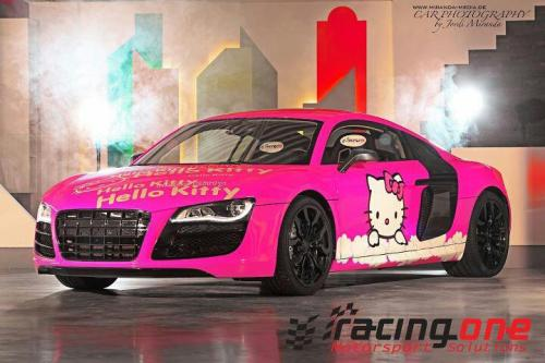 "fuckyeahthebetterlife:  eyelovecars:  Hello kitty R8    ( in a hushed whisper)…""got it in black???"""