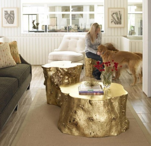 DIY FOR POOR PEOPLE: Gold Spray Painted Tree Stumps!