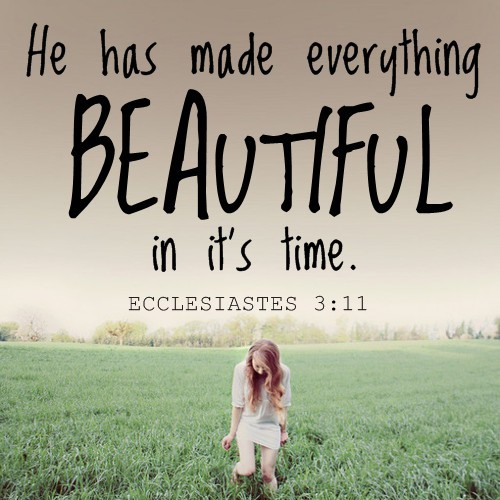 """He has made everything beautiful in it's time."" - Ecclesiastes 3:11"
