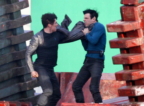 Unknown villain vs Spock photo from in production Star Trek sequel  Benedict Cumberbatch vs Zachary Quinto