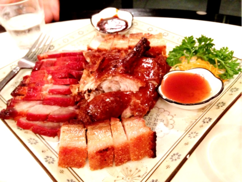 Sneak peak: barbecue platter @ Bamboo Basket. Barbecue galore; roast duck, char siu pork AND roast pork belly!