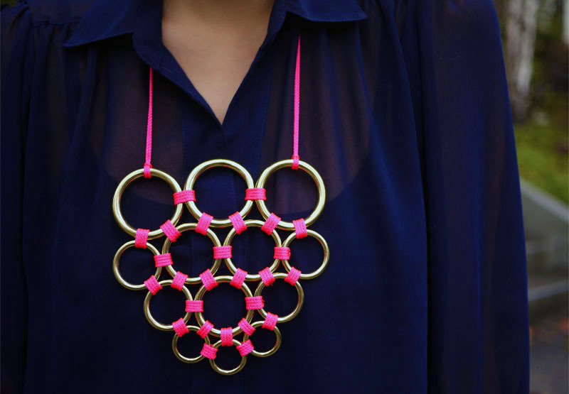 Gretchen Jones Necklace | Honestly WTF If you have been reading my blog for a while you will know that I have a bit of a fluro/metallic obsession at the moment! If you decide to make this, just be slightly careful as you need to melt the backs with a lighter to keep them in place, so please don't burn your fingers with melted nylon!