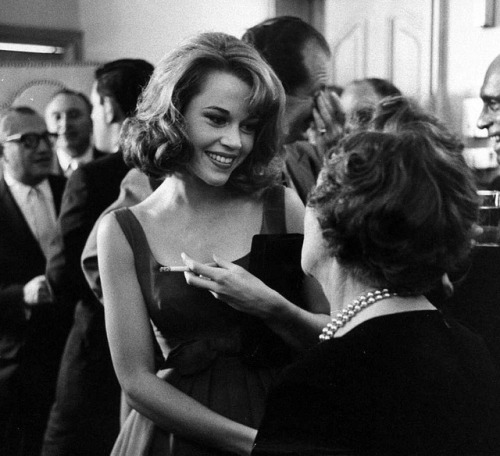 Jane Fonda, guest of honour at a cocktail party, August 1959. Photo by Allan Grant.