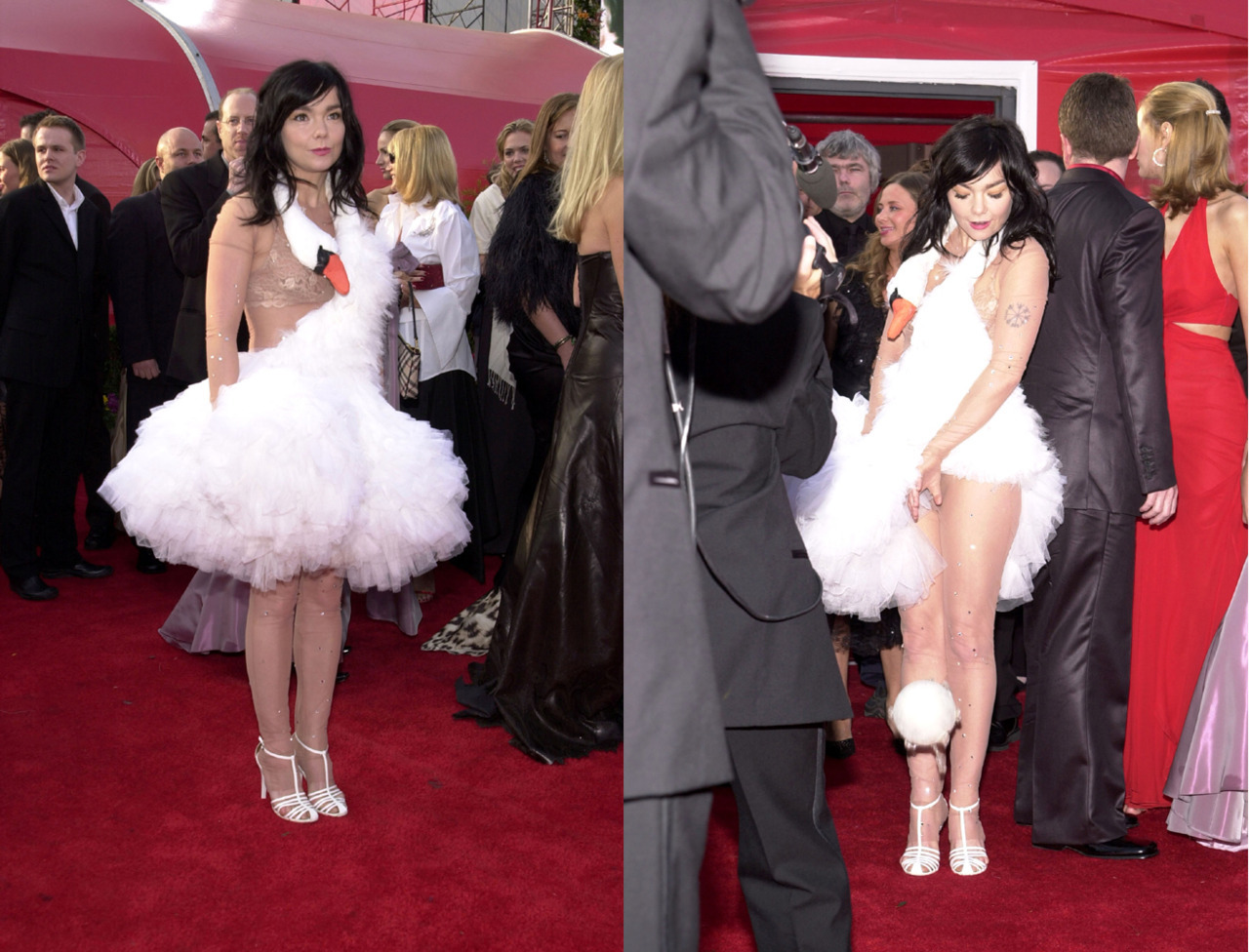 suicideblonde:  Bjork in her infamous swan dress at the 2001 Oscars Bjork was rocking an egg on the red carpet when GaGa was in the 10th grade.