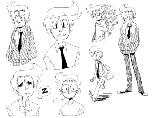 "Some doodlies of Wallace Foster! Wally is one of the ""main"" characters of Monsterkind and I was surprised when I realized I hadn't done a doodle sheet of him."