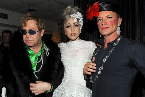 awesomepeoplehangingouttogether:  Elton John, Lady Gaga and Sting