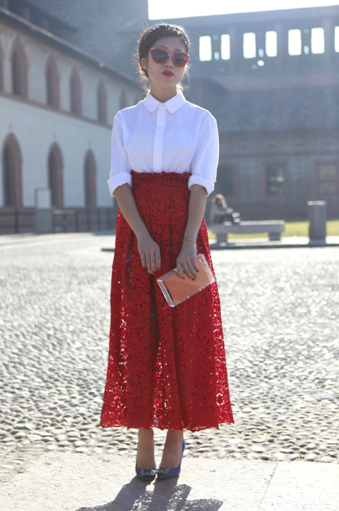 wgsn:  We love everything about this look from #mfw, not least the coordinating sunglasses… WGSN street shot, Milan Fashion Week