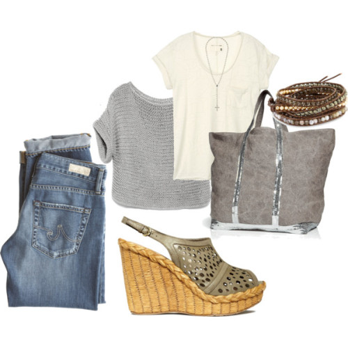 my style by paonote featuring brown jewelryRag bone cotton tee, $105SweaterAG Adriano Goldschmied lightweight jeans, $215Barefoot Tess leather shoes, $69Vanessa Bruno oversized handbag, $375Chan Luu brown jewelry, $190Facets jewelry, $28