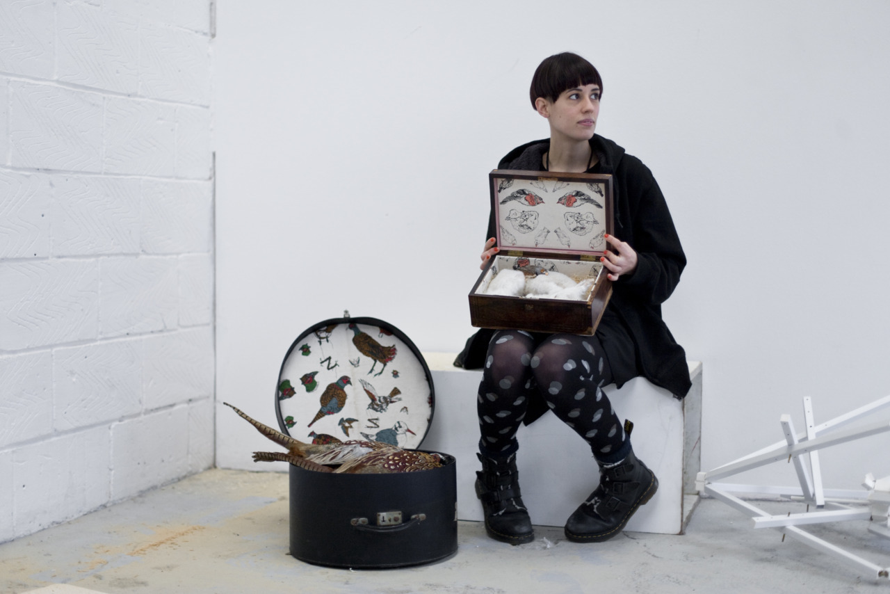 Ethical taxidermist Jazmine Miles-Long at her studio. Shot for HUCK Magazine, January 2012.