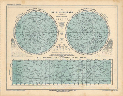 A celestial chart by French astronomer Camille Flammarion. At carambas on Etsy.